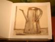Shakers, pots, pans, drypoint, printmaking, Pleasant Hill Kentucky, hand-bound book
