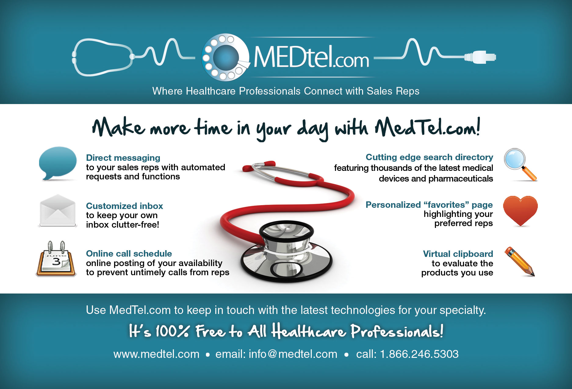 medtel com features direct connect access for doctors enabling medtel com features a pharmaceutical and medical device database integrated a communication platform so that doctors can message reps at their