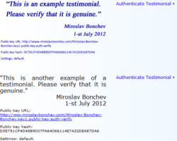 Examples of website testimonials which can be authenticated with 2 clicks