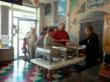 People lined up to taste the world champion pizza recipes at D.S.P.C.