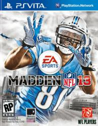 Detroit Lions WR Calvin Johnson on the cover of the new Madden 13 game. Preorder Madden NFL 13 for the Playstation Vita for $39.96. Ships August 28.