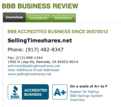 Timeshare Resale A+ BBB Rating