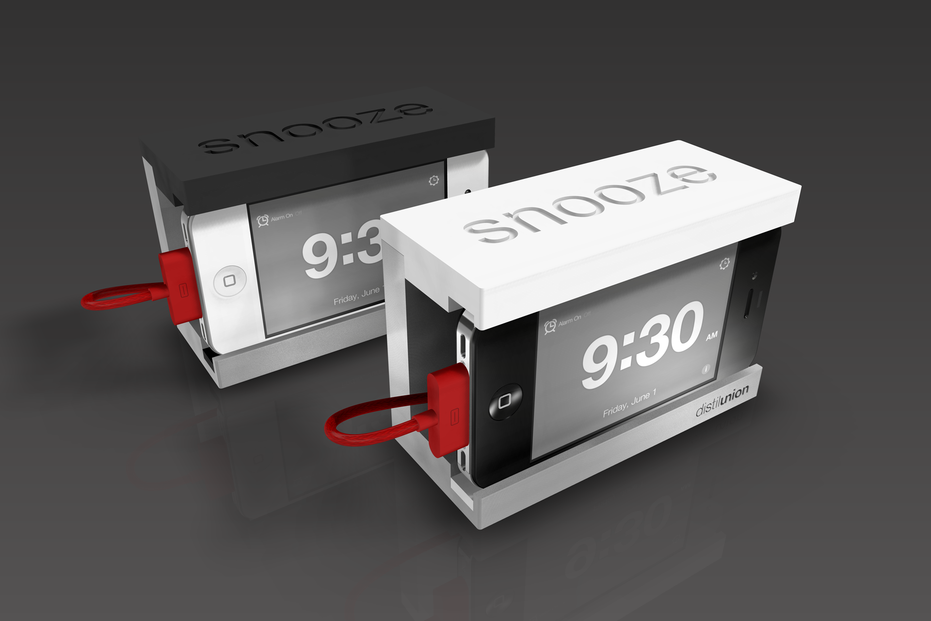 Snooze In AluminumDistil Union Snooze IPhone Alarm Clock Dock Stand  Aluminum ...