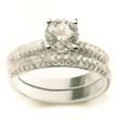 Diamond Encrusted Engagement and Wedding Ring Set