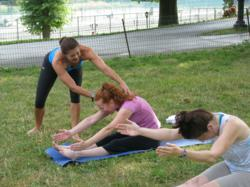 Outdoor Pilates workout in Central Park
