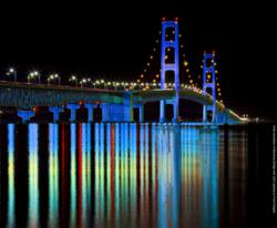 Photo Simulation by Frank Rogala of Mackinac Bridge with Computerized LED Lighting