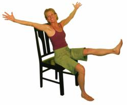Lakshmi Voelker celebrating another chair yoga session.