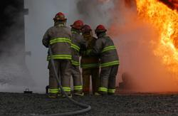 Industrial Firefighters at Work