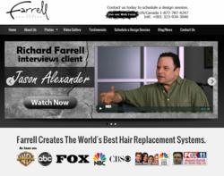 Screen shot of Farrell Hair Replacement's new website