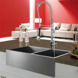 Vigo Double Faucet Pull Down With Double Bowl Stainless Steel Apron Sink