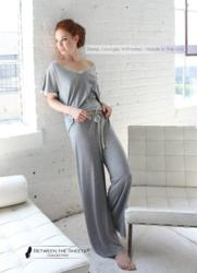 Between the Sheets lingerie's new Venus in Play loungewear styles in heather grey