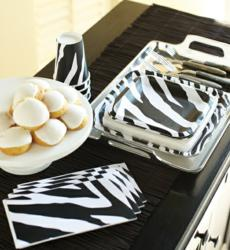 Black and white zebra party supplies.