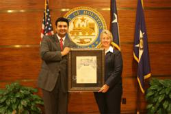 Mayor Parker presenting proclamation to Beta Chi Theta