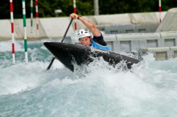Kynan paddling the C1 at the London Olympic Test Event on the same rapids where he will race the Olympics