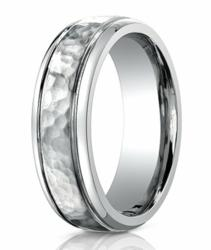 Men's Benchmark Titanium Wedding Ring with Hammered Finish