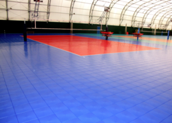 Features the patented ShockTower® Volleyball Court By U.S.A. Mfg SnapSports®
