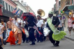 Musicians leading a New Orleans French Quarter Parade