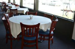 wood restaurant chairs at the Sturgeon Bay Yacht Club