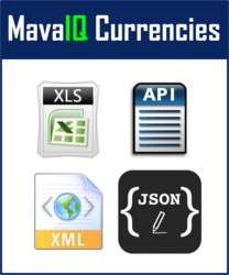 MavaIQ Currencies: Available in Excel and via API (XML & JSON)