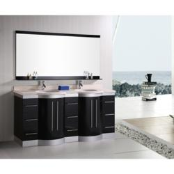 "Design Element Jade 72"" Double Sink Vanity Set W/ Travertine Stone Countertop (DEC023-TTP)"