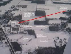 Aerial photographs show the LeRoy school, the adjacent field where the pesticide was sprayed and the vantage point of the video of the incident.