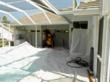 Surfaces including pools must be covered to prevent damage during the remediation process.