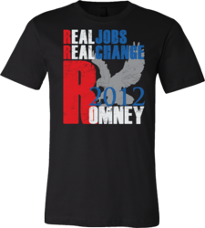 Image of LouXIX's Mitt Romney T-Shirt Featuring Real Jobs, Real Change