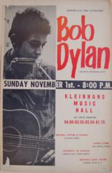 Bob Dylan 1964 Kleinhans Music Hall Buffalo Concert Poster Buffalo NY