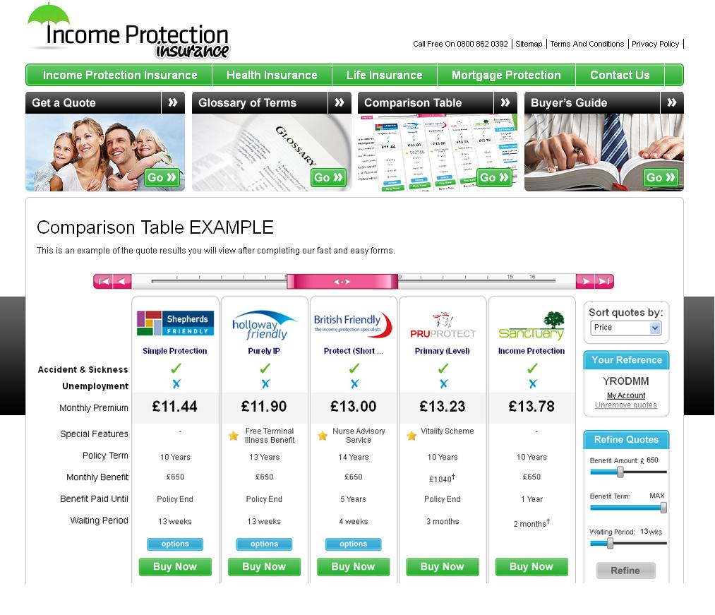 First online income protection insurance comparison site