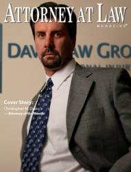 Crhis Davis, Seattle Personal Injury Lawyer, featured on the cover of 'Attorney at Law Magazine'