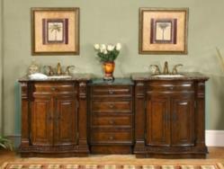 Silkroad Exclusive Double Bathroom Vanity, Hyp-0206-84 in Dark Walnut