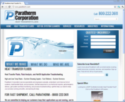 Screenshot of New Paratherm Website