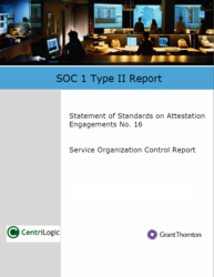Centrilogic SSAE 16 audit report cover