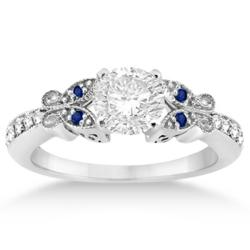 Butterfly Design Blue Sapphire Engagement Ring