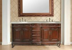 "Stufurhome GM-3323-72-CM - 72"" Saturn Double Sink Vanity With Creama Marfil Marble Top"