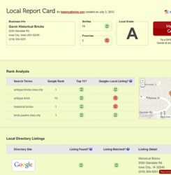 DIYSEO's Free Local SEO Report Card Tool