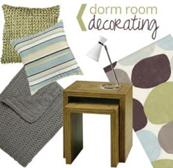 Throws, rugs, nesting tables and lamps for the dorm room