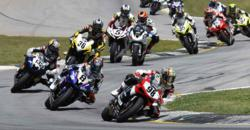 AMA Pro Road Racing competitors take to the track during the first round of M1 PowerSports' Triumph Big Kahuna Triple Crown