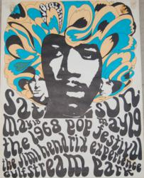 Vintage 1968 Jimi HendrixGulfstream Park Miami Concert Poster