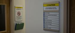 Clarion Lab Door Safety Sign