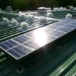 Attic Breeze fans were installed in Guatemala with detached solar panels mounted on a solar rack.