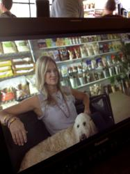 Kristen Levine with her dog, Chilly, on the set of TBS' Trends With Benefits. Her pet lifestyle trend segments will air in commercial breaks during Miss Congeniality 2 on Saturday, July 28 at 2:25pm EDT on TBS.