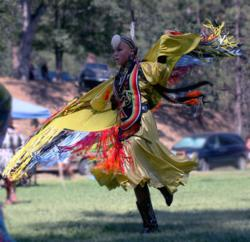 "Photo by Barbara Ezell: Ivory Gardner performs a ""fancy shawl dance"" at a past Indian Fair Days and Pow-Wow in North Fork, California. This year's event is August 4 and 5."