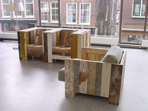 Reclaimed Wood Lounge Chairs by Piet Hein Eek ...