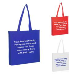 Red, White and Blue Tote Bags Respond To Snarky British Tote Bag