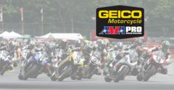 GEICO Motorcycle AMA Pro Road Racing riders on track at Mid-Ohio Sports Car Course
