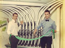 Opening the pneumatic outlets in Lime&Tonic's Prague offices are Global COO Blake Wittman (left) and CEO/co-founder Stefan Cordiner.