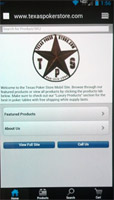 Texas Poker Store Smart Phone Mobile Screen