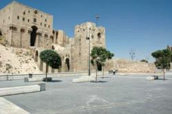 The Citadel of Allepo is the most prominent historic architectural site in Aleppo