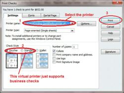QuickBooks checks printing